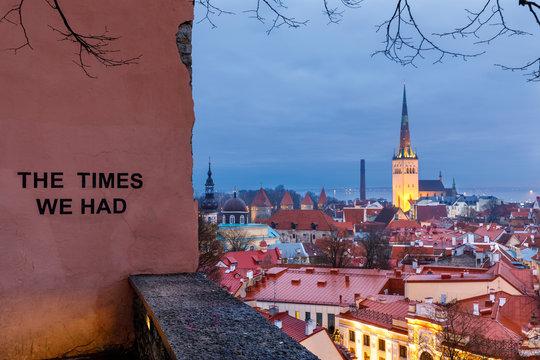 Illuminated church in the old town of Tallinn, Estonia