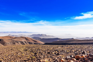 Photo sur Plexiglas Bleu fonce Mountain landscape Draa valley oasis, Morocco. Copy space for text.