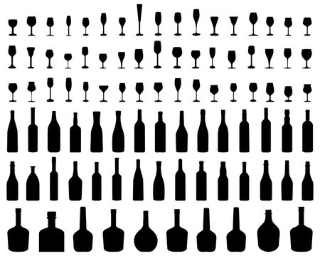 Silhouettes of glasses and bottles of wine on a white background, vector