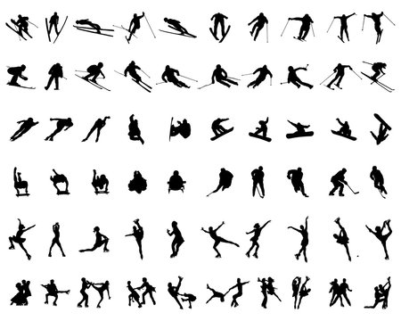 Set of winter sport silhouettes on a white background, vector