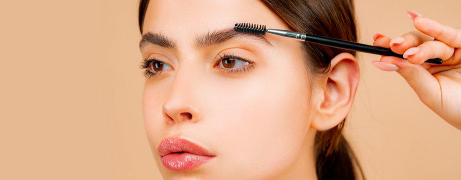 Perfect eyebrows. Natural beauty. Perfect eyebrow, lips and eyelashes. Perfect girl with natural make up.