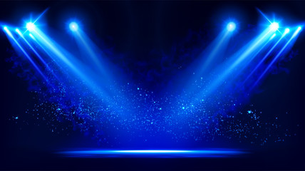 Aluminium Prints Light, shadow Illuminated stage with scenic lights and smoke. Blue vector spotlight with smoke volume light effect on black background. Stadium cloudiness projector. Mist show room. Vector. EPS 10