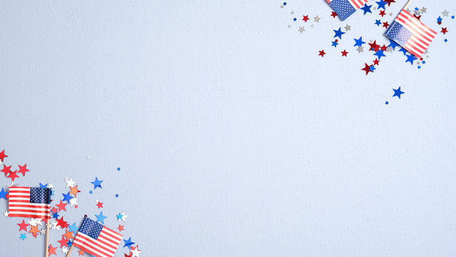Presidents Day USA, Independence Day, US election concept. American flags and confetti stars on blue background. Flat lay, top view.