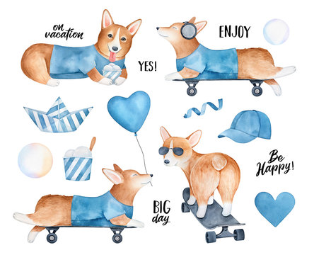 Big vacation collection with cute Welsh Corgi puppy and various summer symbols. Hand painted water color sketchy drawing, isolated clipart elements for design, web banner, greeting card, scrapbooking.