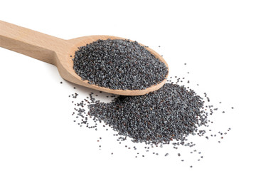 Spoed Fotobehang Klaprozen blue poppy seeds in wooden spoon isolated on white background. food ingredient.