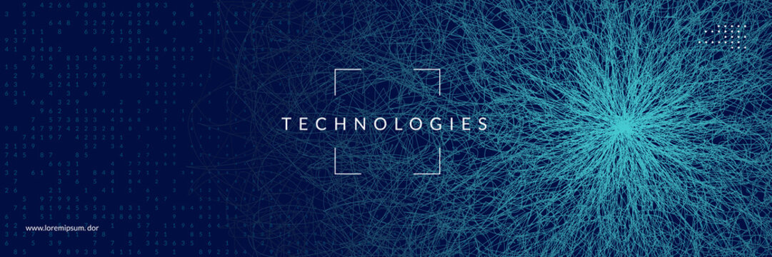 Deep learning concept. Digital technology abstract background. Artificial intelligence and big data. Tech visual for screen template. Cyber deep learning backdrop.
