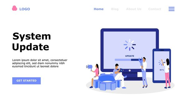 System Update Vector Illustration Concept , Suitable for web landing page, ui,  mobile app, editorial design, flyer, banner, and other related occasion
