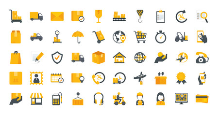 Fototapeta bundle of delivery service icons vector illustration design obraz