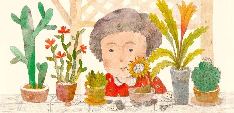 Cute girl with cactuses watercolor painting illustration