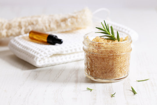 Brown sugar scrubs with essential oil and fresh rosemary