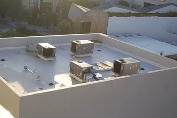 Building roof top, aerial view