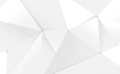 Wall Mural - Abstract white 3d low polygon and lines technology background. Vector illustration