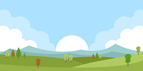 Fond de hotte en verre imprimé Piscine Green spring countryside landscape with trees, sun, blue sky and mountains vector illustration.