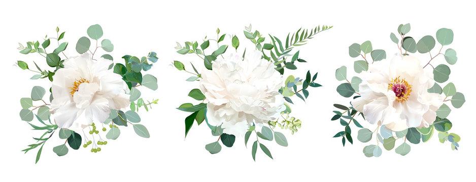 Wedding white flower vector design bouquets