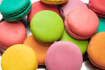 Foto auf Leinwand Macarons Colorful macarons cakes. sweet food