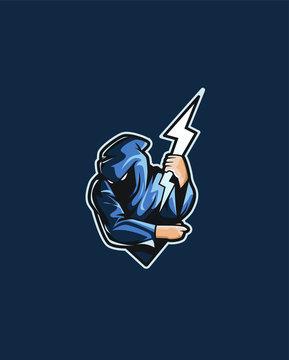 Thunder mascot logo  esport logo