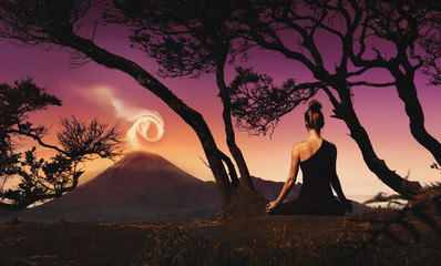 Fototapeten Hochrote Serenity and yoga practicing, meditation near Bromo volcano, digital editing image