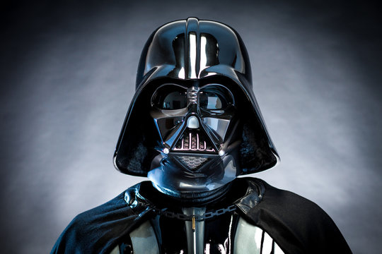 SAN BENEDETTO DEL TRONTO, ITALY. DECEMBER 5, 2014. Darth Vader helmet replica . Darth Vader or Dart Fener is a fictional character of Star Wars saga. Studio lights.
