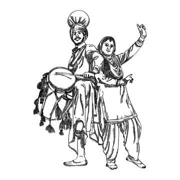 Punjabi couple dancing on bhangra on the occasion of punjabi festival Happy Lohri. vector illustration.