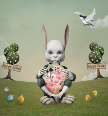 White rabbit with easter eggs sitting in a surreal green meadow