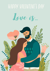 Romantic illustration with man and woman. Love, love story, relationship.