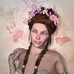 Beautiful woman portrait with flowers in her hair - 3D render