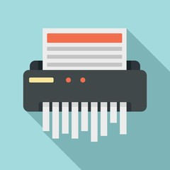 Paper shredder icon. Flat illustration of paper shredder vector icon for web design