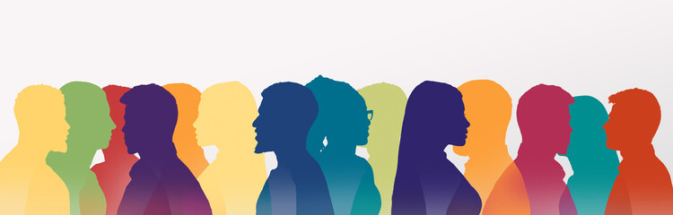 Multicolored silhouettes of people talking to each other