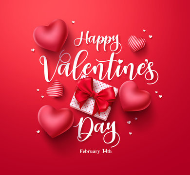 Happy valentines day vector banner greeting card with valentine elements like gift and hearts design in red background. Vector Illustration