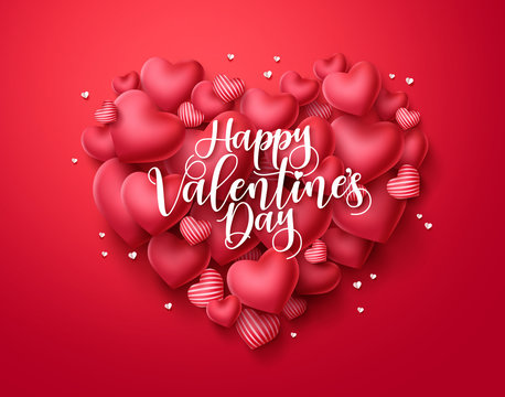 Valentines day hearts vector greeting card. Happy valentines day text with heart shape elements in red background. Vector illustration.