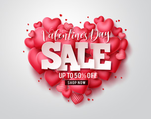 Photo sur Toile Les Textures Valentines day sale vector hearts. Valentines day sale text with heart shape elements in red background. Vector illustration.