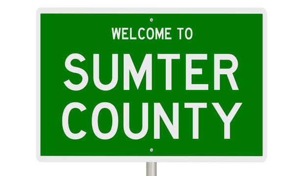 Rendering of a green 3d highway sign for Sumter County