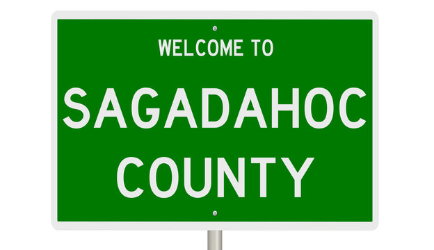 Rendering of a green 3d highway sign for Sagadahoc County