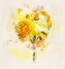 Flowers digital painting collection - beautiful yellow roses background in watercolor style