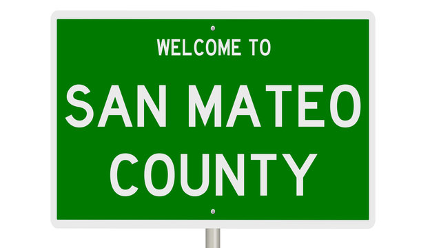 Rendering of a green 3d highway sign for San Mateo County