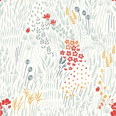 Fototapeta Wildflowers, grass and insects scattered on light background, seamless floral abstract pattern with flowers. Vector meadow hand drawn illustration in vintage style.