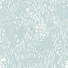 Poster de jardin Artificiel Silhouettes wildflowers, grass and insects scattered on turquoise background, seamless floral abstract pattern with flowers. Vector meadow hand drawn illustration in vintage style.