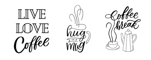 Coffee quotes lettering set. Drawn art sign Fototapete