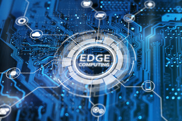Edge computing technology concept. Blue integrated circuit with icons. Futuristic tech of data processing.