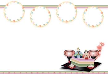 ひな祭り雛人形と菱餅や雪洞のイラスト背景素材