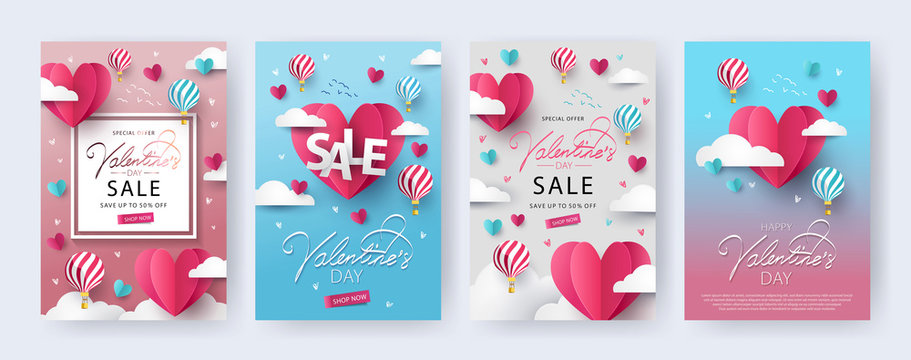 Happy Valentine's Day banners, posters, cards or flyers Set with flying Origami Hearts over clouds with air balloons in the sky. Design template for advertising, web, social media. Paper cut style
