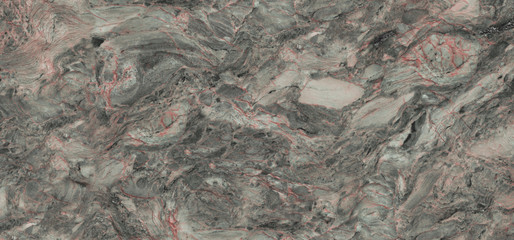Rustic Marble Texture Background With Cement Effect In Grey Colored Design and Red Curly Veins,...