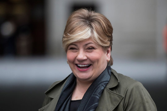 Britain's opposition Labour Party Shadow Foreign Secretary Thornberry leaves BBC HQ in London