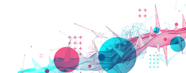Wireframe science background with plexus effect. Futuristic vector illustration.