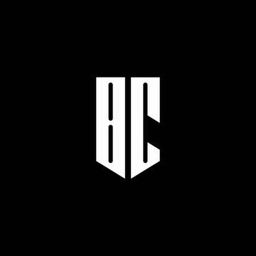 BC logo monogram with emblem style isolated on black background