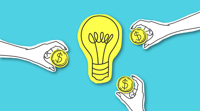 Hands with dollar sign coins around yellow light bulb
