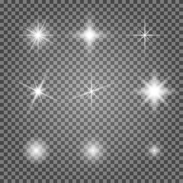Light flare vector effect set. Flash lihgtning star isolated on transparent background. Shiny starlight spark on lens. Collection of magic christmas twinkle. Abstract glare explosion