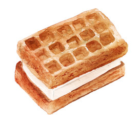 Watercolor image of delicious waffles