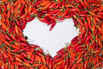 Canvas Prints Hot chili peppers Fresh organic vegetable red hot chili pepper heart shape