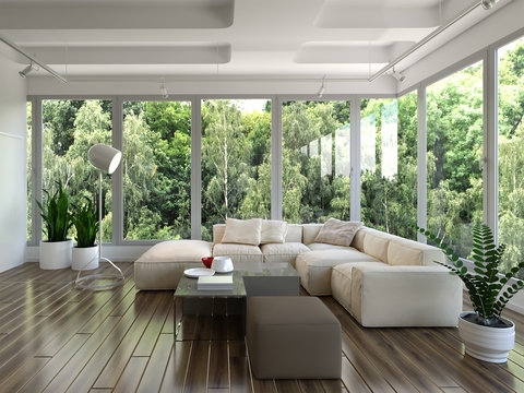 3d rendering of living room with panoramic windows